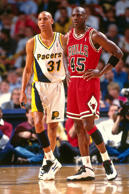 Reggie Miller #31 of the Indiana Pacers stands against Michael Jordan #45 of the Chicago Bulls circa 1995 at Market Square Arena in Indianapolis.