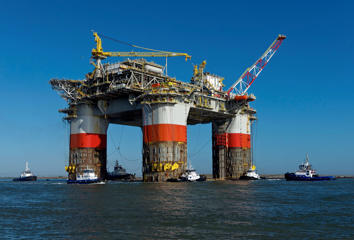 Chevron's Jack/St. Malo semi-submersible drilling and production platform leaves Kiewit Offshore Services in Ingleside, Texas in route to the Gulf of Mexico on Friday, Nov. 15, 2013.