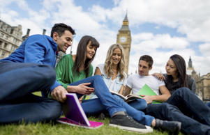 <p>Group of students studying abroad in London</p>
