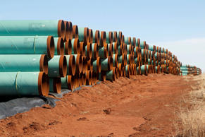 In this Feb. 1, 2012 file photo, miles of pipe ready to become part of the Keyst...