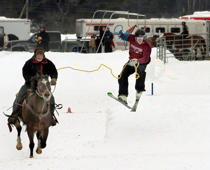 This sport is like water skiing with snow. The person on the ski is pulled by horses or dogs attached by harnesses and a rope. Skijoring has been very popular in Scandinavia and Alaska.