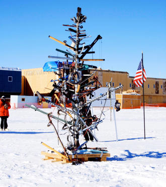 The US research station celebrates Christmas with the annual Race Around The World. It is so named because runners pass through every time zone in the world as they race in a circle around the South Pole.