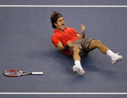 Roger Federer, of Switzerland, celebrating after defeating Andy Murray, of Britain, to win the men's finals championship match at the U.S. Open tennis tournament in New York. Set aside, for the moment, Federer's athleticism and artistry, his sturdiness and strokes.