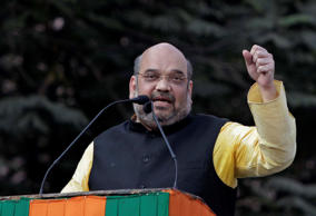 File: India's ruling Bharatiya Janata Party (BJP) president Amit Shah addresses a public meeting observing party's 'Raising Day' in Kolkata, India
