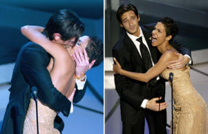 "<p><strong>Shocker kiss</strong></p><p><span style=""font-size:13px;"">In 2003, Adrien Brody's performance as a Holocaust survivor in Roman Polanski's film ""The Pianist"" (2002) won him an Oscar in the Best Actor category. At 29 years, he also became the youngest actor to win the title. The ecstatic actor couldn't control his emotions, and planted a long passionate kiss on Halle Berry, who was onstage to announce his name. He capped off this stolen smooch with a witty comment to a visibly stunned Berry, ""I bet they didn't tell you that was in the gift bag!""</span><strong></strong></p>"
