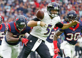 Dec 21, 2014; Houston, TX, USA; Houston Texans outside linebacker Whitney Mercilus (59) knocks the ball out of the hands of Baltimore Ravens quarterback Joe Flacco (5) during the first quarter at NRG Stadium.