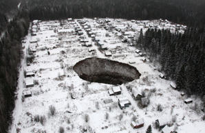 A view of a sinkhole stretching 20 by 30 meters at the Solikamsk-2 mine on Novem...