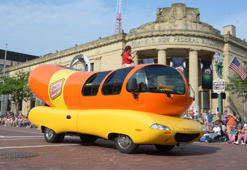 Aug 2, 2014; Canton, OH, USA; The Oscar Mayer wienermobile at the TimkenSteel Grand Parade on Cleveland Avenue in advance of the 2014 Pro Football Hall of Fame Enshrinement. Mandatory Credit: Kirby Lee-USA TODAY Sports