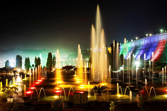 Very beautiful fountains in Brindavan Garden, Mysore