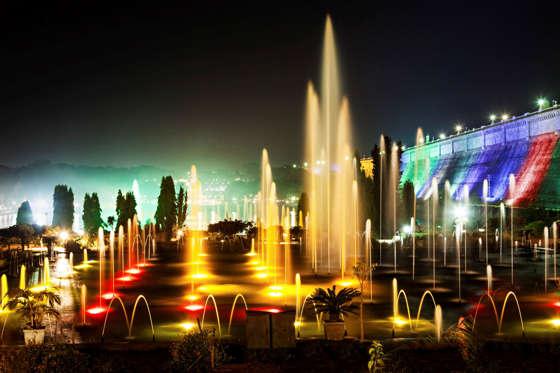 Very beautiful fountains in Brindavan Garden, Mysore
