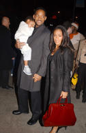 Actress Jada Pinkett Smith and actor Will Smith with their son Jaden attend a screening for the movie 'Ali' at the Sony Theater December 4, 2001 in New York City.