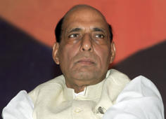 File: President of India's main opposition Bharatiya Janata Party (BJP) Rajnath Singh pauses during the release of his party's manifesto for the April/May general election in New Delhi April 3, 2009.