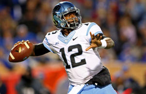 Marquise Williams #12 of the North Carolina Tar Heels during their game at Wallace Wade Stadium on Nov. 20, 2014 in Durham, N.C.