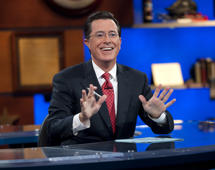 "This Sept. 8, 2010 publicity photo released by Comedy Central shows host Stephen Colbert appears on ""The Colbert Report,"" in New York.  ""The Colbert Report"" will end on Thursday, Dec. 18, 2014, after nine seasons."