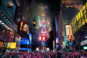Fireworks erupt after midnight in Times Square.