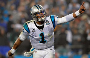 Cam Newton #1 of the Carolina Panthers celebrates during their NFC Wild Card Pla...
