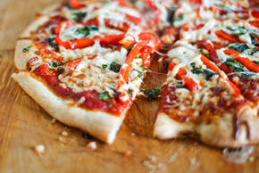 Vegetarian pizza. K. Miller Photographs/Getty Images