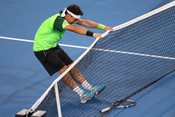 Fabio Fognini of Italy reacts after missing a shot in his match against John Isner of the United States during day two of the 2015 Hopman Cup on Monday in Perth, Australia. Isner defeated Fognini 7-5 5-7 7-6(4) to secure the United States' victory over Italy.