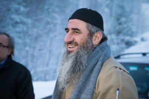 Norwegian Islamic preacher Mullah Krekar upon his release from prison in Norway, January 25, 2015.