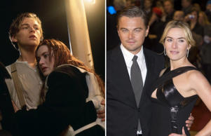 TITANIC (1997)  Leonardo DiCaprio, Kate Winslet; Leonardo DiCaprio and Kate Winslet Based on a novel by Richard Yates, 'Revolutionary Road' follows the story of a young couple (Kate Winslet and Leonardo DiCaprio) living in a Connecticut suburb during the mid-1950s who struggle to come to terms with their personal problems while trying to raise their two children. They then decide to move to France in an attempt to develop their artistic sensibilities free of the consumerism of capitalist America