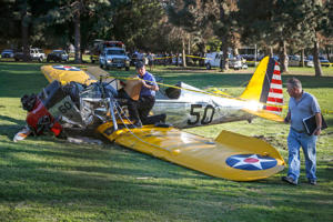 An airplane sits on the ground after crash landing at Penmar Golf Course in Venice, Los Angeles California March 5, 2015. Actor Harrison Ford was injured on Thursday in the crash of a small airplane outside Los Angeles, celebrity website TMZ reported. Reuters could not immediately confirm the report on TMZ, which said that Ford, 72, suffered multiple gashes to his head and was taken to a nearby hospital for treatment.
