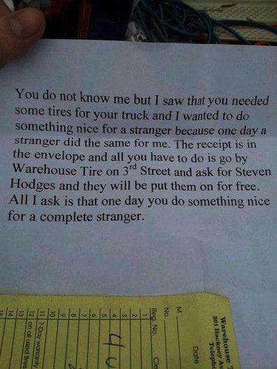 A note from a Samaritan who bought new tires for a driver in need.
