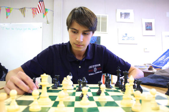 Slide 1 of 52: Student playing chess at Thomas Jefferson High School for Science and Technology in Alexandria, Va.