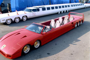 Mandatory Credit: Photo by Robert Knight/REX_Shutterstock (192699a) The Longest Stretch Ferrari Car Compared for Scale to the World's Longest Stretch Limousine, Also Designed by Jay Ohrberg WORLD RECORD FOR THE LONGEST FERRARI, DESIGNED BY JAY OHRBERG - AMERICA - 1991