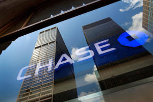 JPMorgan Chase & Co. signage is displayed at a bank branch in New York