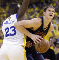 Cleveland Cavaliers center Timofey Mozgov, right, shoots against Golden State Wa...