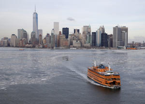 The Staten Island Ferry leaves Manhattan in New York.