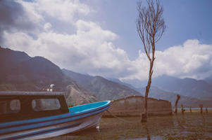 The views while crossing Lake Atitlán is like a painting.
