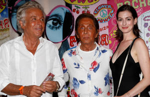 Giancarlo Giammetti, Valentino Garavani, Anne Hathaway andSpanish model Jon Kortajarena attend Flower Power Party at Pacha Ibiza. Pictured: Anne Hathaway, Valentino Garavani, Giancarlo Giammetti, Jon Kortajarena