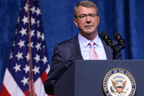 U.S. Secretary of Defense Ash Carter speaks at a memorial service to honor those...
