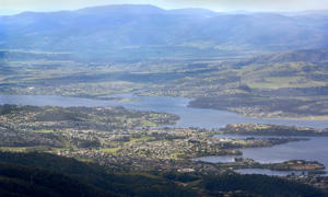 The city and region of Hobart is seen in southern Tasmania, Australia.