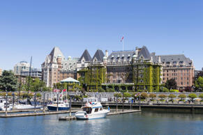 Canada, British Columbia, Victoria, Marina in front of the Empress Hotel