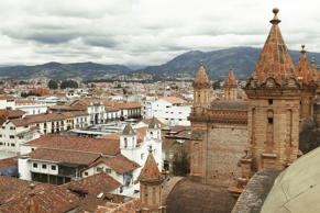 View over the roofs of Cuenca, the New Cathedral, Cathedral Nueva, at the front, Azuay Province, Ecuador