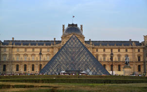 A general view of the Louvre Palace and museum and pyramid.
