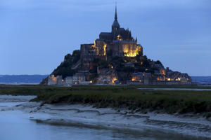 General view of the Mont Saint-Michel in the French western region of Normandy.