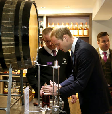 Prince William, Duke of Cambridge attends a whisky tour of The Famous Grouse Distillery in Crieff, Scotland.