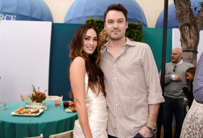 "Megan Fox, left, and Brian Austin Green attend the Los Angeles premiere of ""Teenage Mutant Ninja Turtles"" after party at the Regency Village Theater on Sunday, Aug. 3, 2014."