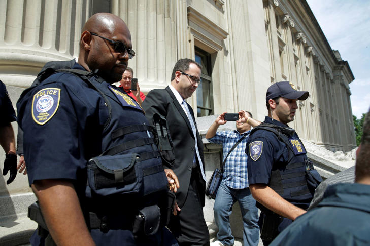 Former Subway pitchman Jared Fogle leaves the Federal Courthouse in Indianapolis, Wednesday, Aug. 19, 2015 following a hearing on child-pornography charges. Fogle agreed to plead guilty to allegations that he paid for sex acts with minors and received child pornography in a case that destroyed his career at the sandwich-shop chain and could send him to prison for more than a decade.