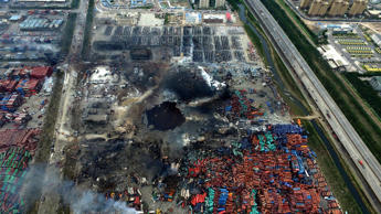Hole at the core area of explosion site in Tianjin, north China.