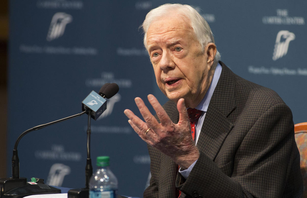 Former President Jimmy Carter talks about his cancer diagnosis during a news conference at The Carter Center in Atlanta on Thursday, Aug. 20, 2015.