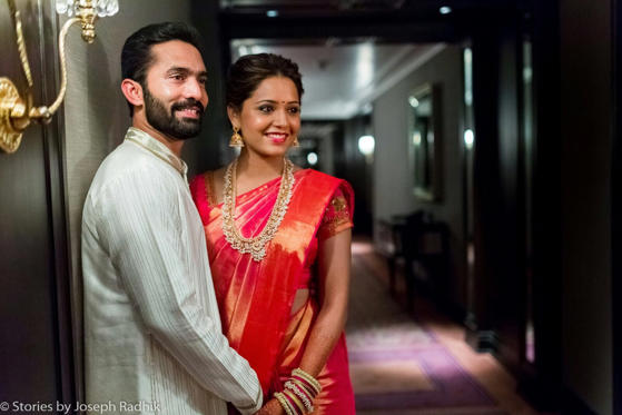 <p>Cricketer Dinesh Karthik and squash player Deepika Pallikal during their wedding ceremony in Chennai on Aug. 18, 2015. </p>