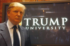 Donald Trump at a press conference launching Trump University at Trump Tower in New York on May 23, 2005.