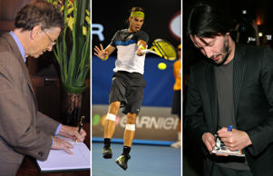 Famous Left handed people in action - American business magnate, philanthropist, investor, computer programmer, and inventor Bill Gates, King of Clay Rafael Nadal and Hollywood actor Keanu Reeves.