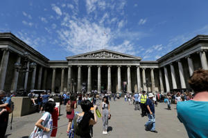 Visitors walk outside the British Museum in Bloomsbury, London.