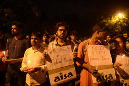 File: New Delhi: Members of the Social Democratic Party of India (SDPI) and AISA holding a candle light protest against excution of Mumbai 1993 serial blasts convict Yakub Memon, in New Delhi, on July 29, 2015.
