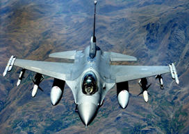 File: An F-16 Fighting Falcon, from the 4th Expeditionary Fighter Squadron at Hill Air Force Base, Utah, takes part in a mission supporting Operation Northern Watch in this August 13, 2002 file photo.